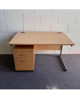 Beech straight desk and pedestal set- 1200 x 800