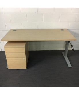 Maple height adjustable desk and pedestal set - 1600 x 800