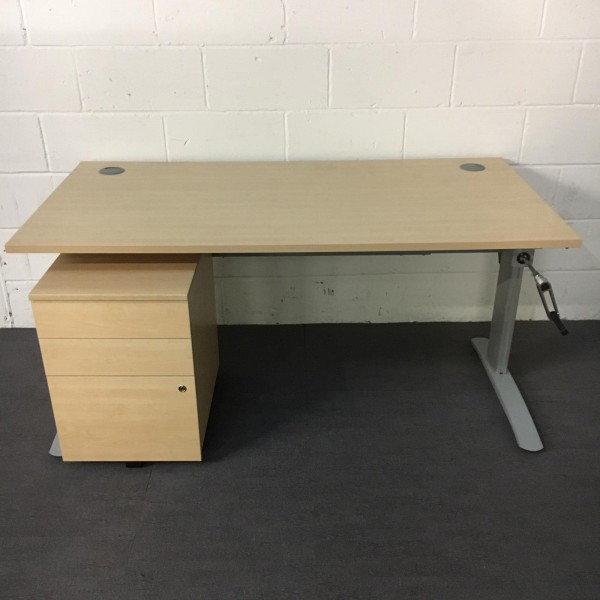 Maple height adjustable desk and pedestal set - 1600 x 800
