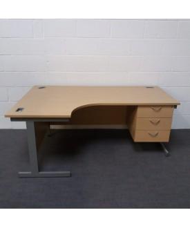 Maple left handed corner desk with attached pedestal- 1600 x 1200