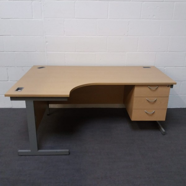 Maple left handed corner desk with attached pedestal- 1800 x 1200