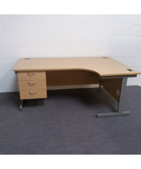 Maple right handed corner desk with attached pedestal- 1600 x 1200