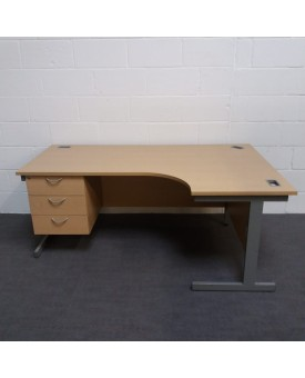 Maple right handed corner desk with attached pedestal- 1800 x 1200