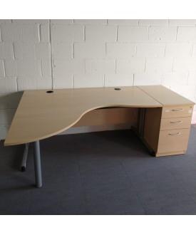Maple left handed corner desk and pedestal set- 1600 x 1330 x 800
