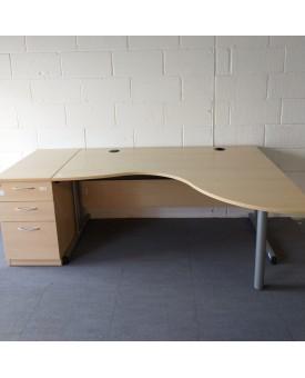 Maple right handed corner/wave desk and desk high pedestal set- 1600 x 1330 x 800