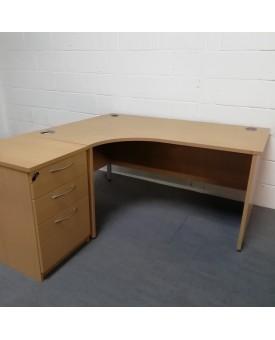 Beech left handed corner desk set with desk high pedestal - 1600 x 1200