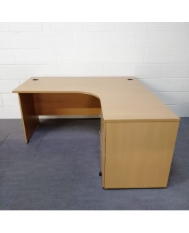 Beech right handed corner desk set with desk high pedestal - 1600 x 1200
