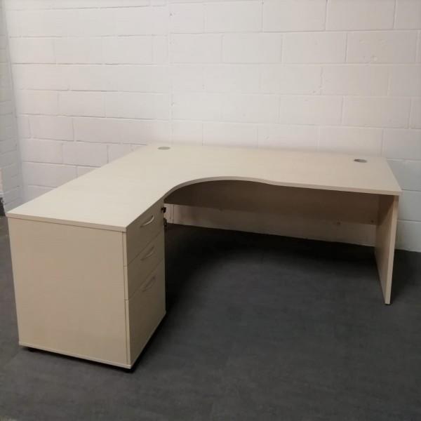 Light maple left handed corner desk set with desk high pedestal- 1800 x 1200