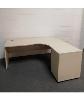 Light maple right handed corner desk set with desk high pedestal- 1800 x 1200