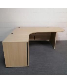 Maple left handed corner desk set with desk high pedestal - 2000 x 1180