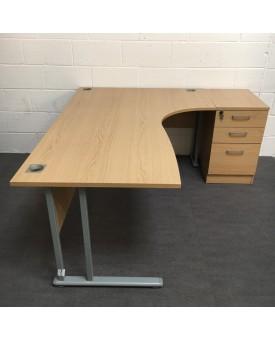 Oak right handed corner desk and pedestal set - 1800 x 1200