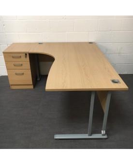 Oak left handed corner desk and pedestal set - 1800 x 1200