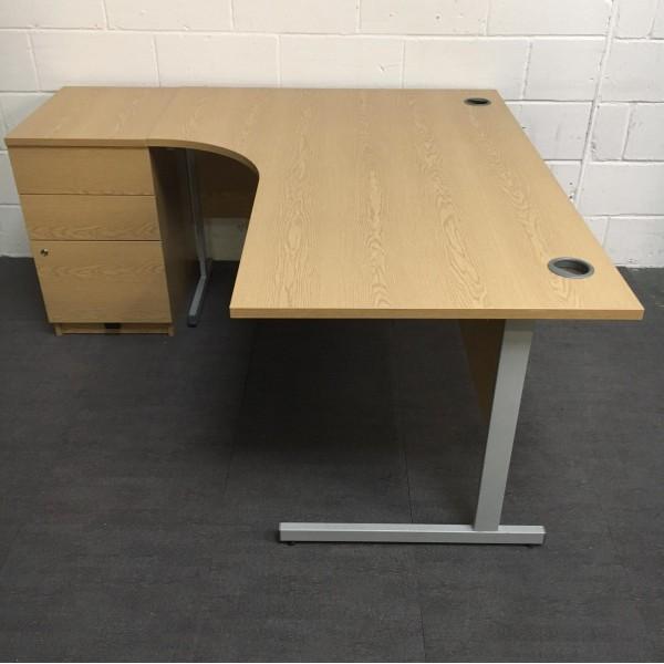Oak left handed corner desk and pedestal set - 1600 x 1170