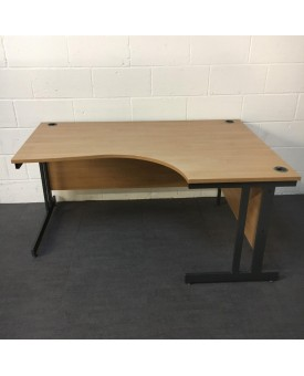 Beech right handed corner desk and pedestal set - 1600 x 1130