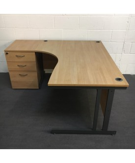 Beech left handed corner desk and pedestal set - 1600 x 1130