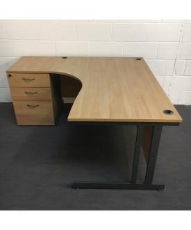 Beech left handed corner desk and pedestal set - 1600 x 1130