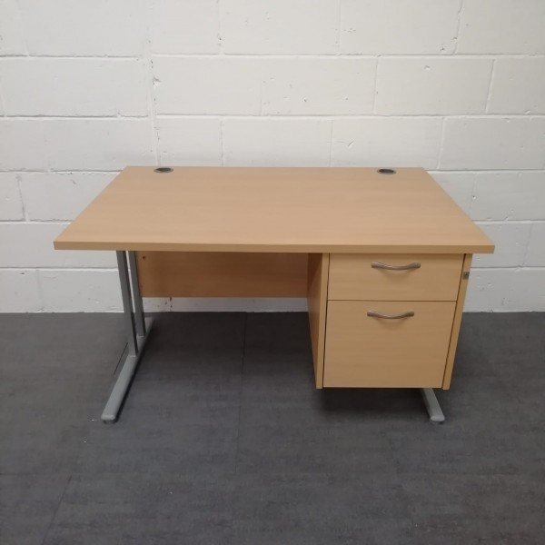 Beech straight desk and pedestal set- 1200 x 800
