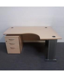 Maple right handed corner desk set with under desk pedestal- 1600 x 1200
