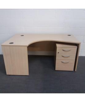 Maple left handed corner desk set with under desk pedestal- 1600 x 1200