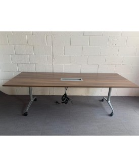 Walnut meeting table with plug in feature- 2400 x 900