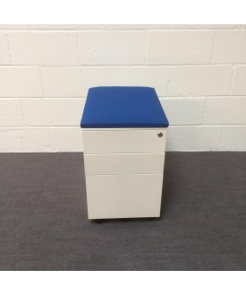 White mobile pedestal- blue cushioned top