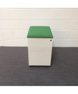 White mobile pedestal- green cushioned top