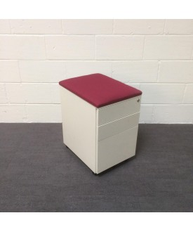White mobile pedestal- burgundy cushioned top