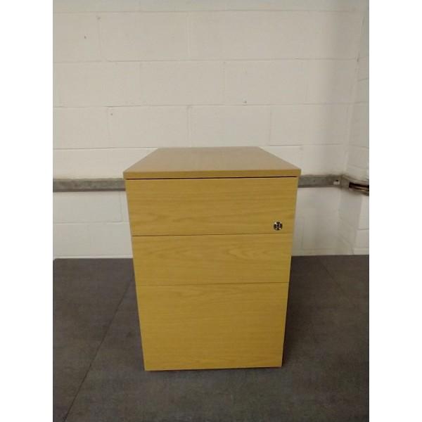 Oak mobile pedestal- 3 drawer
