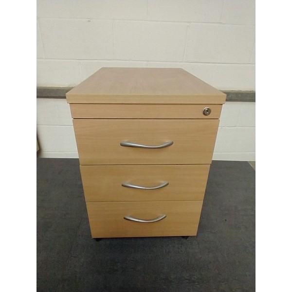 Beech mobile pedestal- 3 drawer