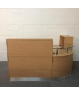 Beech reception suite with glass corner topping