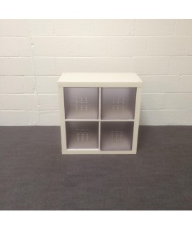 White shelving unit with slide out drawers