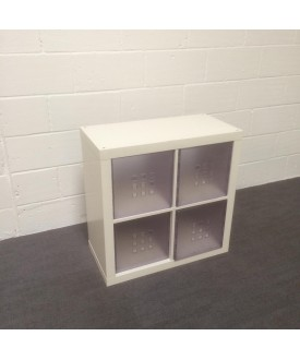 White bookshelf- clear drawers not included
