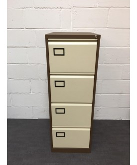 Brown and Cream Filing Cabinet- 4 Drawer