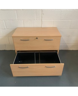 Light beech 2 drawer lateral filing cabinet