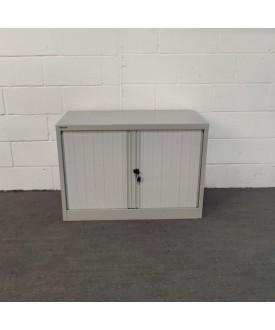 Grey tambour cabinet- sliding doors