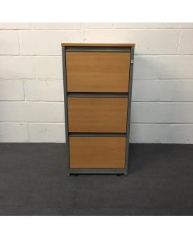 Beech three drawer filing cabinet