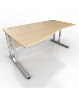 Wave desk - 1600mm x 1000mm - Maple (Left Hand)