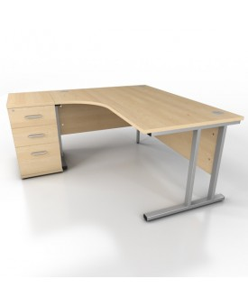 Corner desk - 1600mm x 1200mm - Maple (Left Hand)