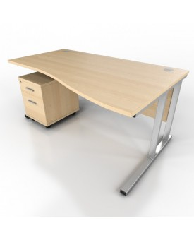 Wave desk - 1600mm x 1000mm - Maple (Right Hand)