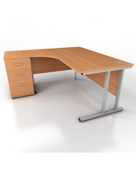 Corner desk - 1600mm x 1200mm – Beech (Left Hand)