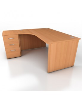 Corner desk - 1600mm x 1200mm - Beech (Left Hand)