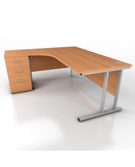 Corner desk - 1800mm x 1200mm – Beech (Left Hand)