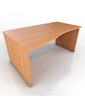 Wave desk - 1600mm x 1000mm - Beech (Left Hand)
