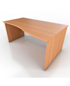 Wave desk - 1600mm x 1000mm - Beech (Right Hand)