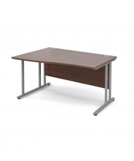 Wave economy desk - 1400mm x 800mm - Walnut LH