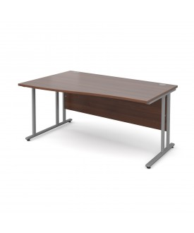 Wave economy desk - 1600mm x 800mm - Walnut LH