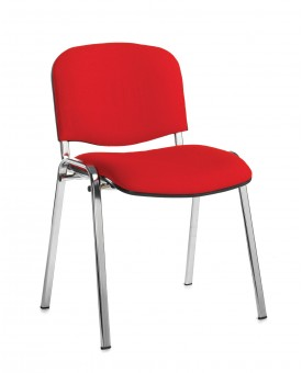 Taurus Red Meeting Chair with Chrome Frame