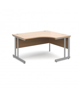 Next Day Delivery Momento right hand ergonomic desk 1400mm - silver cantilever frame- available in 5 colours