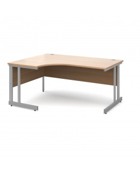 Next Day Delivery Momento left hand ergonomic desk 1600mm - silver cantilever frame- available in 5 colours
