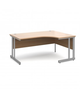 Next Day Delivery Momento right hand ergonomic desk 1600mm - silver cantilever frame- available in 5 colours